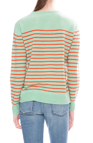 Kule Mint and Poppy Striped Sophie Sweater