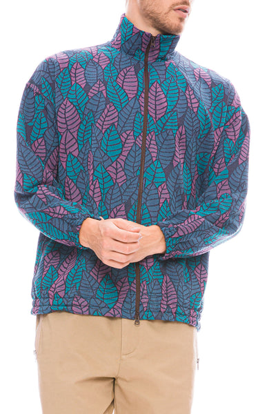 Remi Relief Mens Jacquard Leaf Print Zip Jacket in Blue Front View
