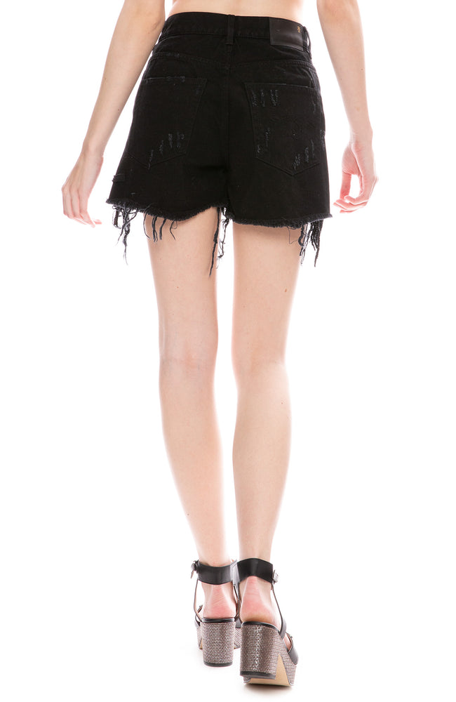 R13 Womens Shredded Black Sequin Slouch Shorts