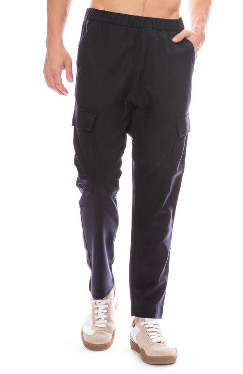 Barena Mens Drawstring Wool Pant in Navy Front View