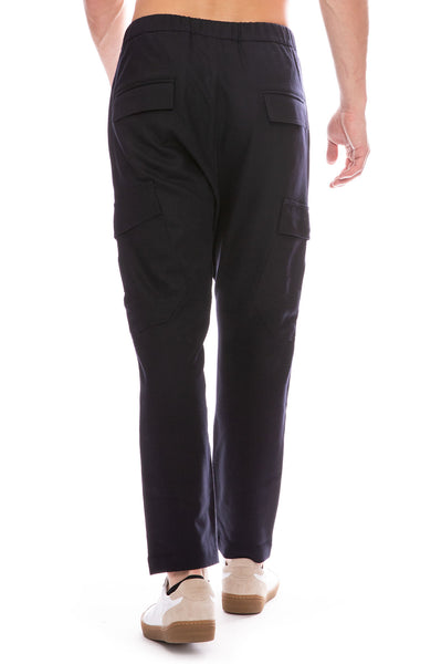 Barena Mens Drawstring Wool Pant in Navy Back View