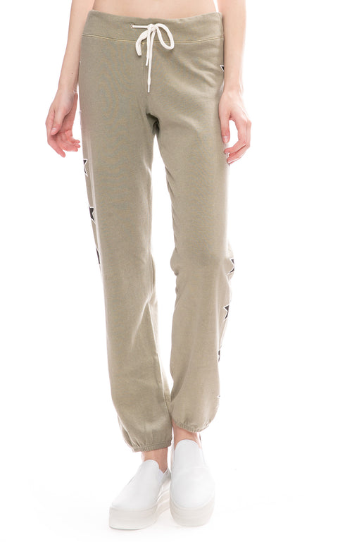 Monrow Two Tone Star Print Sweatpants in Green Tea