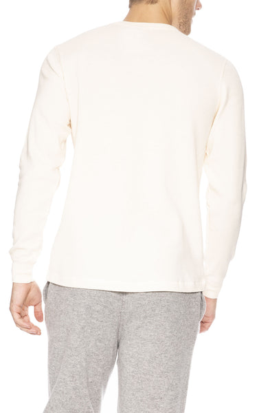 Sunspel Waffle Crew Neck Long Sleeve Top in Off White at Ron Herman