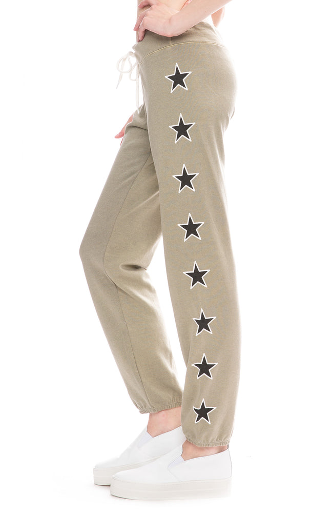 Monrow Two Tone Star Print Green Tea Sweatpants