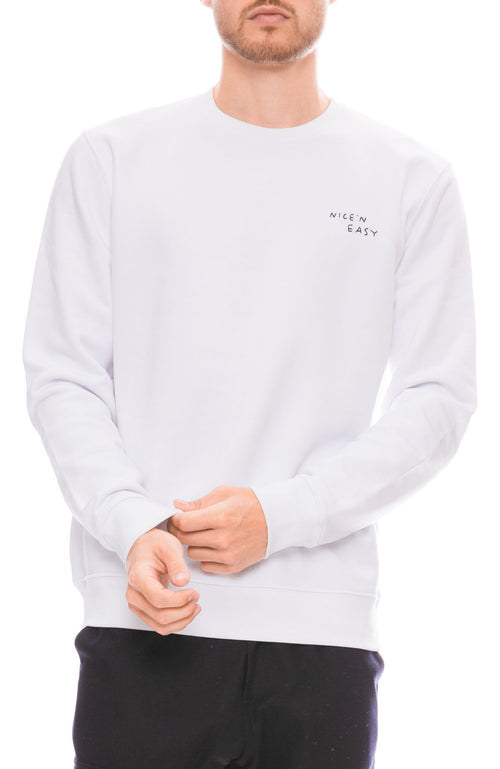 Yeah Right NYC Mens Nice N Easy Embroidered Crew Neck Sweatshirt in White Front View