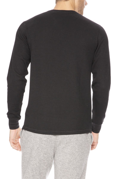 Sunspel Waffle Crew Neck Long Sleeve Top in Black at Ron Herman