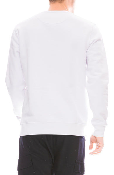 Yeah Right NYC Mens Nice N Easy Embroidered Crew Neck Sweatshirt in White Back View