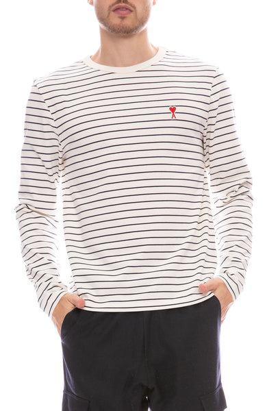 Ami Long Sleeve Stripe T-Shirt in Ecru with Marine Stripes