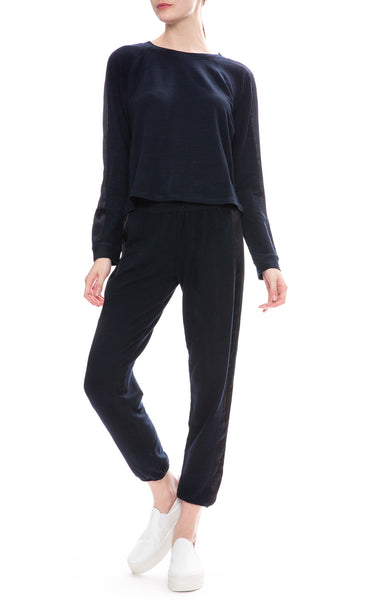 Monrow Satin Stripe Sweatpants and Sweatshirt in Inca Blue