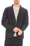 Barena Mens Three Button Herringbone Blazer in Anthracite Grey Front View