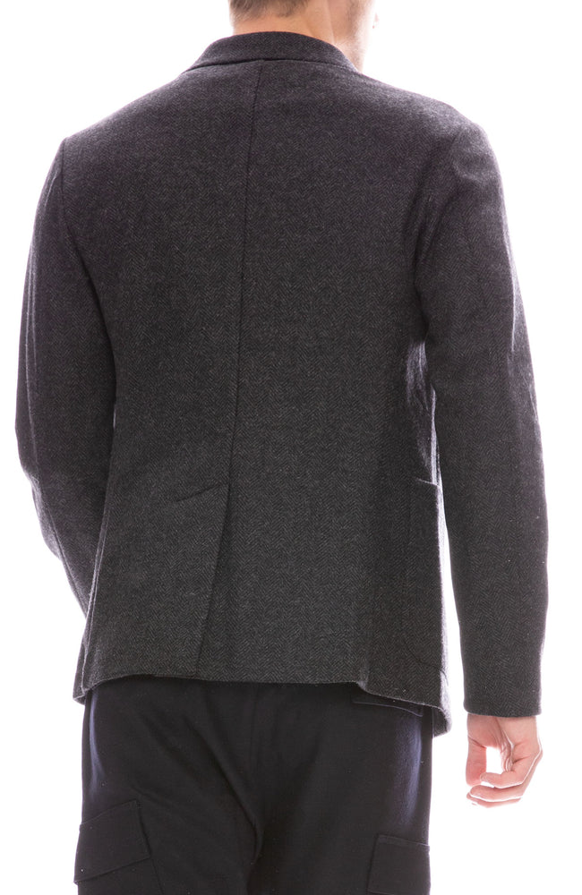 Barena Mens Three Button Herringbone Blazer in Anthracite Grey Back View