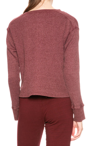 Monrow Cropped Henley in Bordeaux at Ron Herman