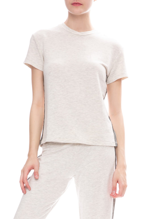 Monrow Vintage Side Stitch T-Shirt in Ash