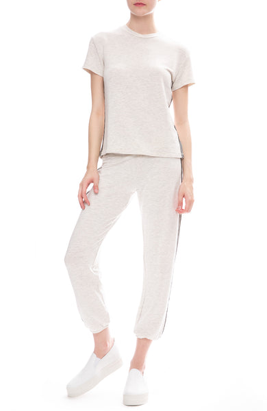 Monrow Side Stitch Sweatpants with Vintage Crew T-shirt in Ash