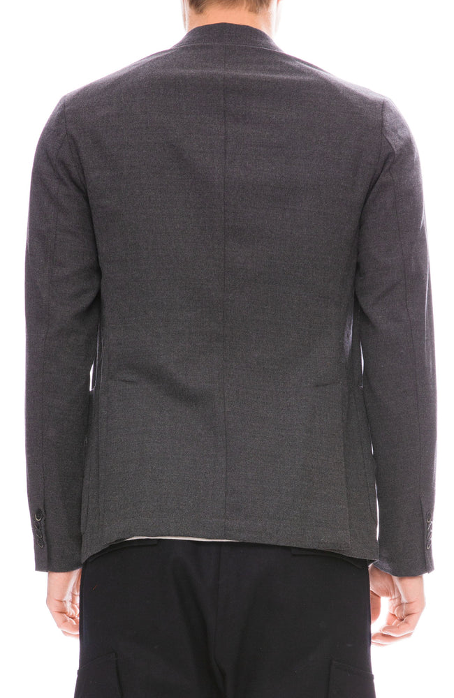 Barena Mens Two Button Flannel Blazer in Cenere Grey Back View