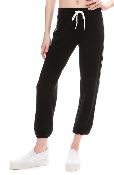 Monrow Side Stitch Sweatpants in Black