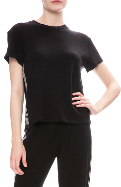 Monrow Vintage Side Stitch T-Shirt in Black