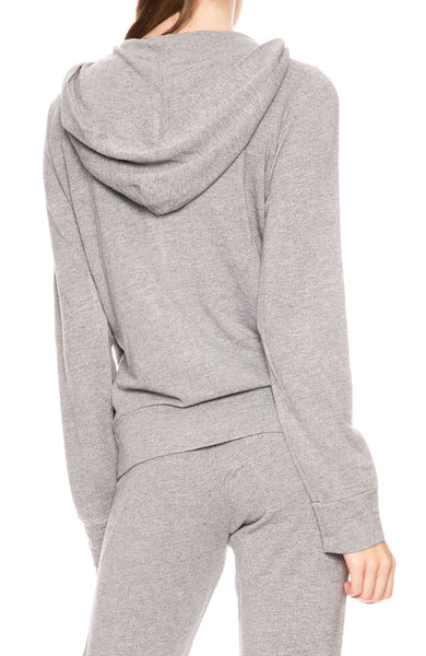 Monrow Dark Heather French Terry Zip Up Hoodie at Ron Herman