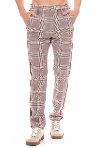 Mother Shaker Prep Plaid Pants in Plum / Pink