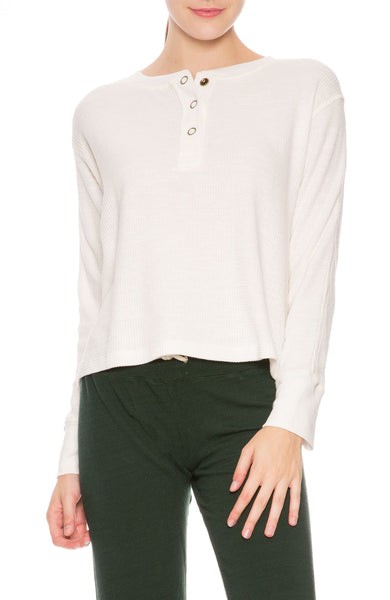 Monrow Cropped Henley in Natural at Ron Herman