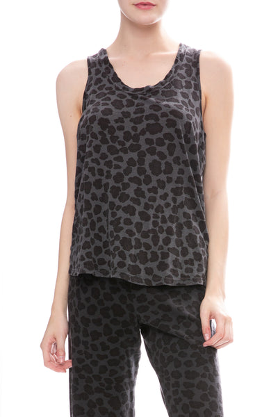 Monrow Leopard Print Oversized Tank Top in Vintage Black