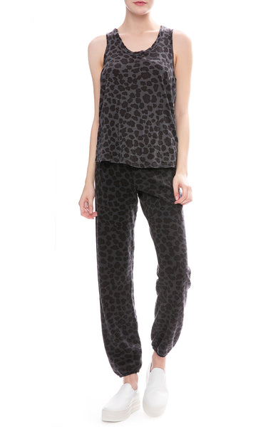 Monrow Leopard Print Oversized Tank Top with Leopard Sweatpants