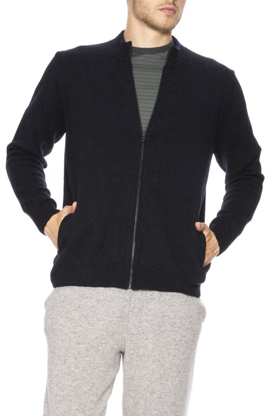 Sunspel Wool Zip Jacket in Dark Navy Mouline at Ron Herman