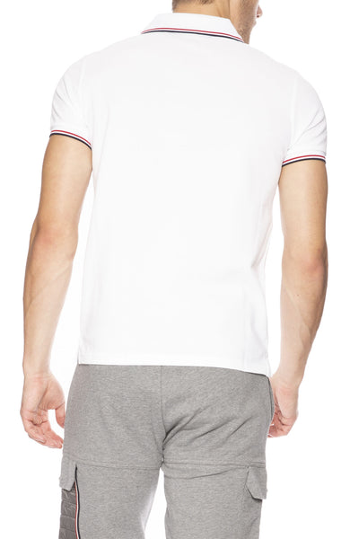 Moncler Mens Short Sleeve Polo with Tipping Detail in White