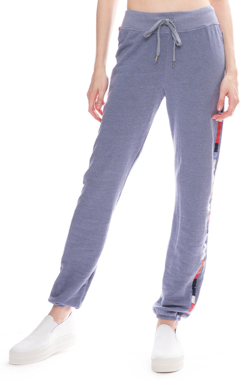 Sundry Embroidered Side Sweatpants in Denim Blue
