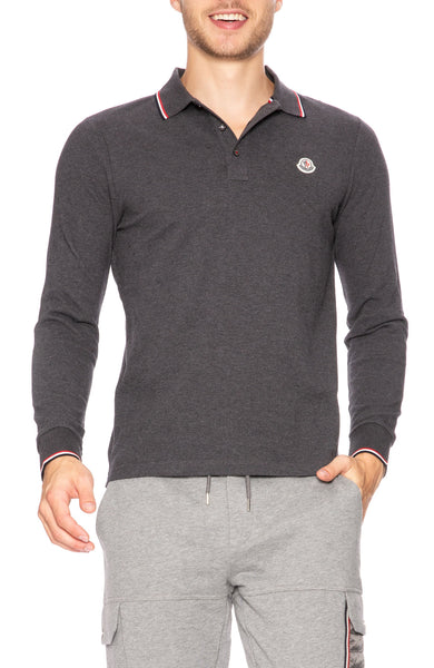 Long Sleeve Polo with Tipping Detail