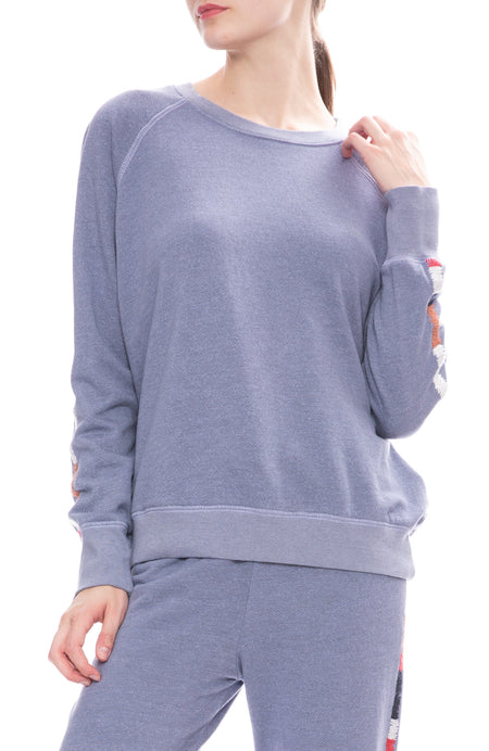 Embroidered Pullover Raglan Sweatshirt