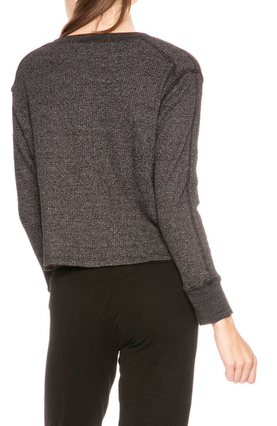Monrow Cropped Henley in Black at Ron Herman