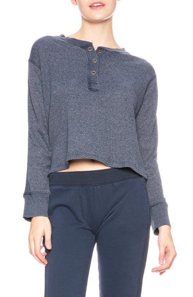 Monrow Cropped Henley in Inca Blue at Ron Herman