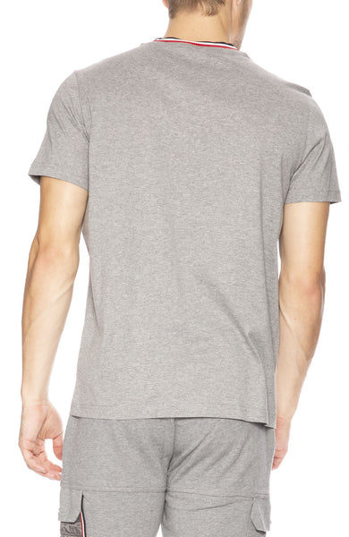 Moncler Mens Striped Crew T-shirt in Light Grey