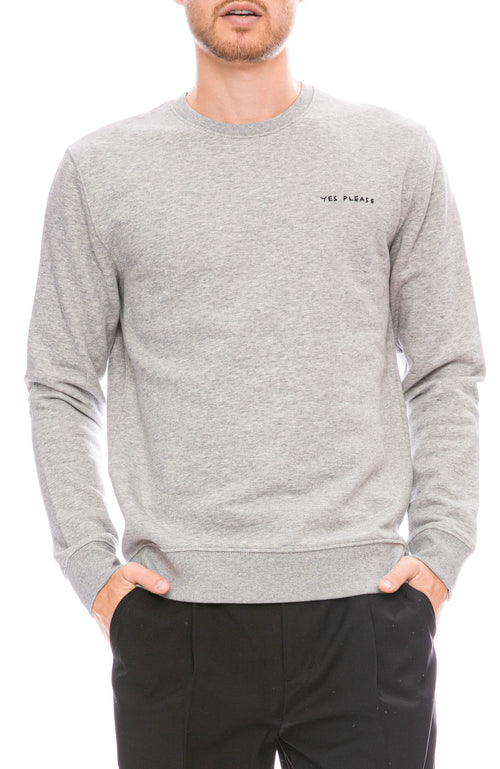 Yes Please Embroidered Crew Neck Sweatshirt