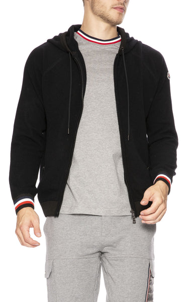 Moncler Zip-Up Hoodie with Tipping Detail