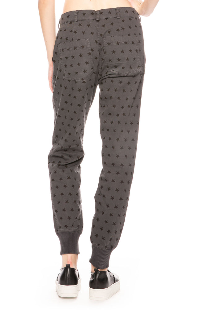 Monrow Woven Star Cargo Style Pants in Vintage Black at Ron Herman