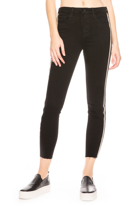 The Margot High Rise Sequin Stripe Skinny Jean