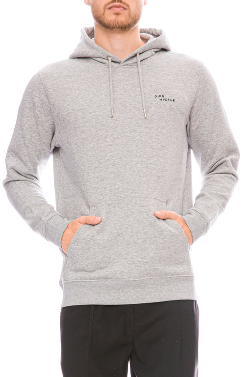 Yeah Right NYC Mens Heather Grey Hoodie with Outlaw Embroidery Front Image