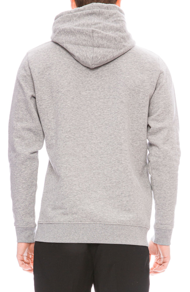 Yeah Right NYC Mens Heather Grey Hoodie with Outlaw Embroidery  Back Image
