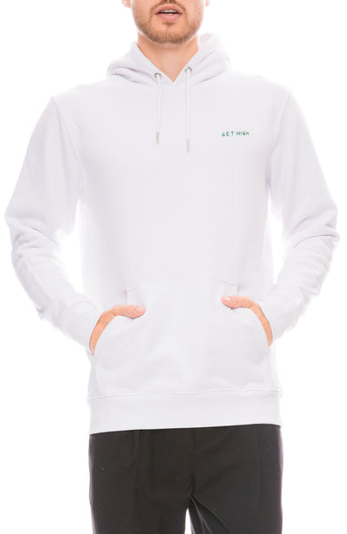 Yeah Right NYC Mens White Hoodie with Get High Embroidery Front View
