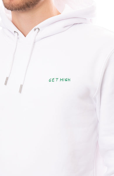 Yeah Right NYC Mens White Hoodie with Get High Embroidery Detail View