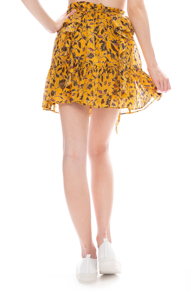 Ulla Johnson Zea Shimmering Lurex Ruffle Mini Skirt in Amber