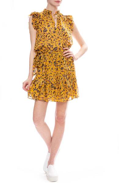 Ulla Johnson Zea Ruffle Mini Skirt and Shona Top in Amber