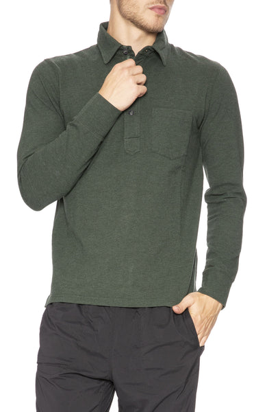 Relwen Pique Long Sleeve Polo in Forest Heather