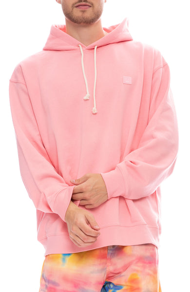 Acne Studios Logo Cotton Fleece Hoodie in Blush Pink