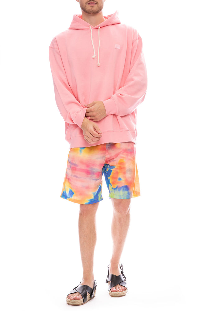 Acne Studios Logo Cotton Fleece Hoodie in Blush Pink with Stussy Shorts