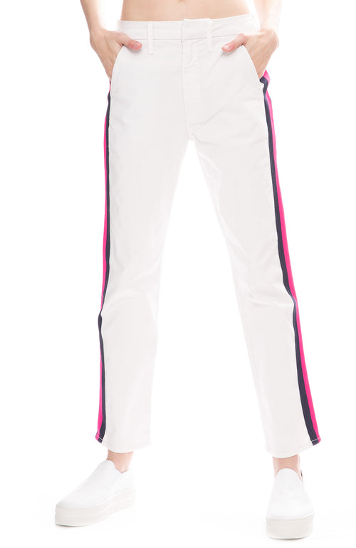 Mother Straight Shaker Side Stripe Ankle Pants in Chalk White with Navy and Neon Pink Stripe