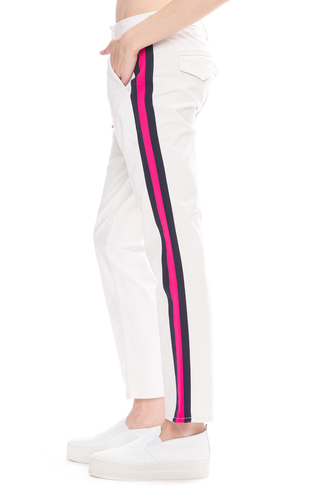 Mother Straight Shaker Pants in Chalk with Navy and Neon Pink Side Stripes