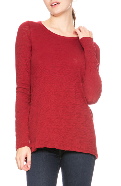 ATM Slub Jersey Long Sleeve Tee in Red at Ron Herman